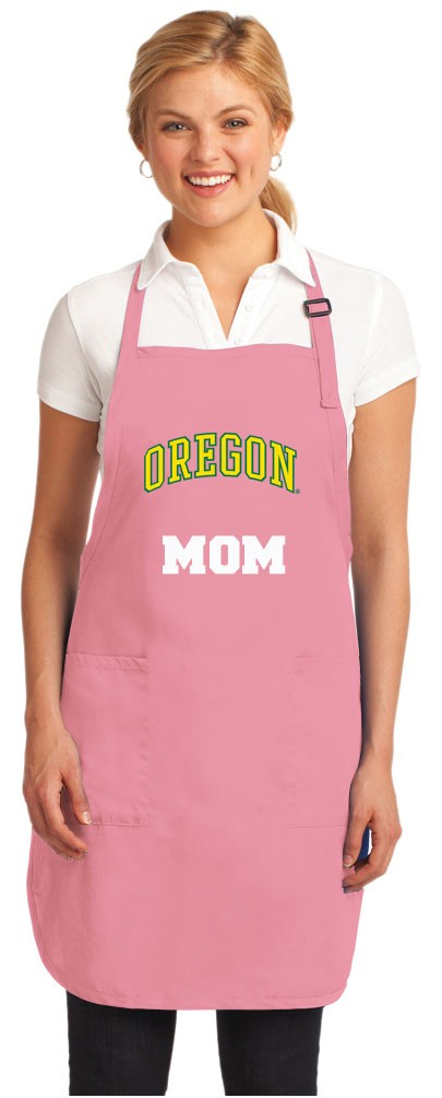 Deluxe University of Oregon Mom Apron Pink - MADE in the USA!
