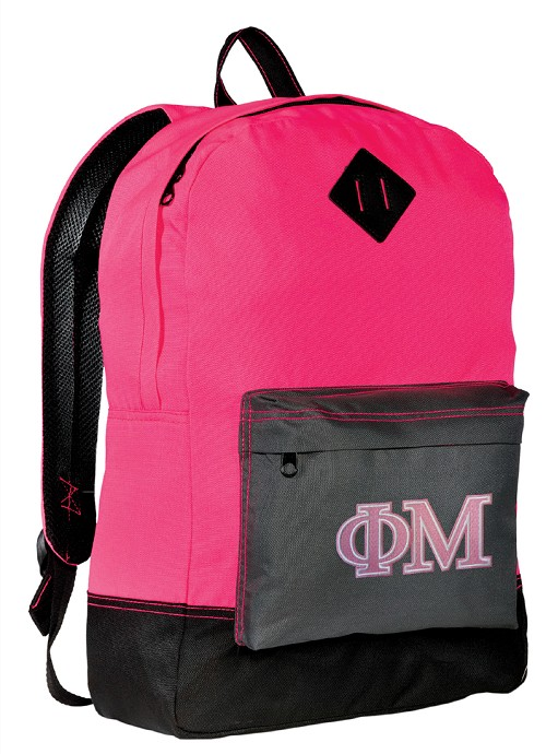 Phi Mu Neon PINK Backpack