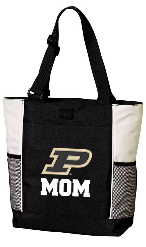Purdue Mom Tote Bag White Accents