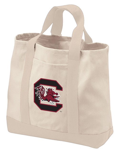 University of South Carolina Tote Bags NATURAL CANVAS