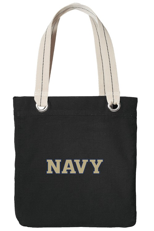 Naval Academy Tote Bag RICH COTTON CANVAS Black