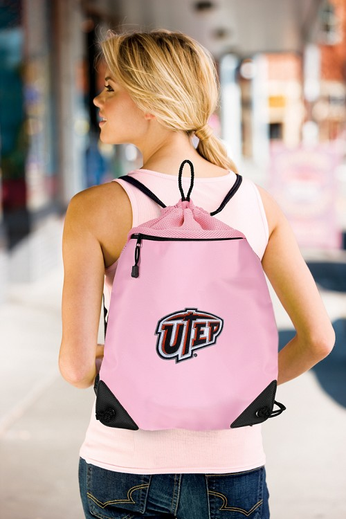UTEP Miners Pink Drawstring Bag Backpack