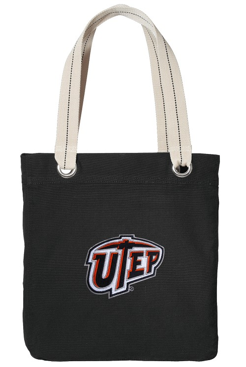UTEP Miners Tote Bag RICH COTTON CANVAS Black