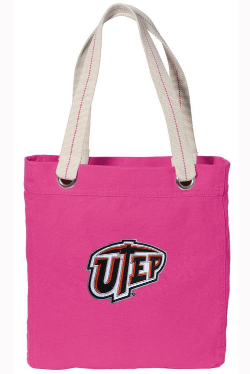 UTEP Miners NEON PINK Cotton Tote Bag
