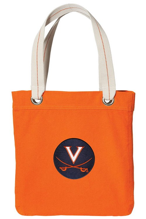 UVA University of Virginia NEON Orange Cotton Tote Bag