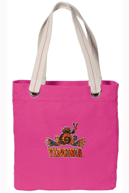 UVA Peace Frog NEON PINK Cotton Tote Bag