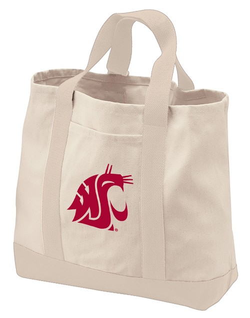 Washington State Tote Bags NATURAL CANVAS